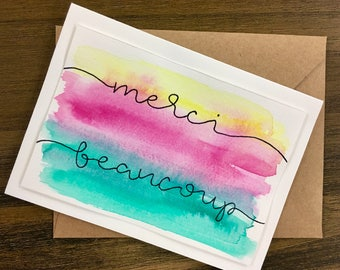 "Hand-Lettered Handmade ""Merci Beaucoup"" Thank-You Bright Watercolor Card"