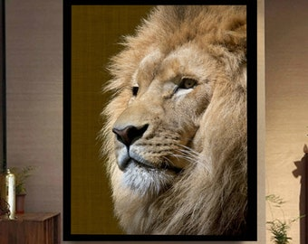 Lion Print, Digital Print, Lion Printable, Lion Poster, African Animals, Safari Decor, Lion Wall Print, Lion King Art, Boss, Lion Wall Decor