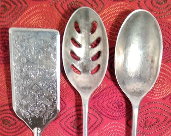 3 piece large silver plated serving set