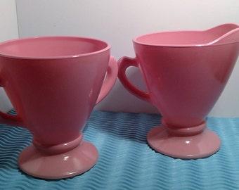 "Pink Hazel Atlas ""Ovide"" Creamer and Sugar"