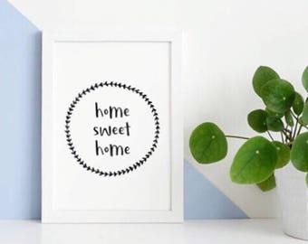 Home Sweet Home Printable // Home Sweet Home Quote, Minimalist Poster, Nordic Print, Nordic Printable Wall Art, Scandinavian Printable