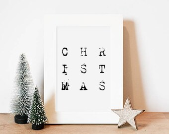 Christmas Printable // Christmas Decor, Christmas Wall Art, Christmas Print, Christmas Download, Black and White Christmas Decor