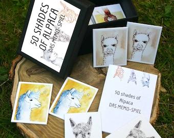 50 Shades of Alpaca-alpaca memory game, 32teilig with illustrations, Memo game