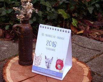 Alpaca Calendar 2018-A6 format, illustrations, table calendars-30% discount