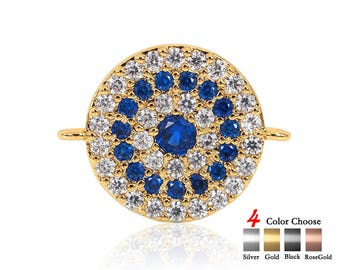 Colorful Round Evil Eye Coin,CZ Micro Pave crystal Evil Eye connectors,Gold plated Bracelet Coin  15x19.7x1.9 mm 1pcs
