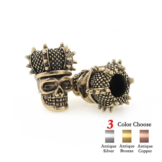 2pcs Crown Skull Bead Charms Antique Style For 550 Paracord Etsy