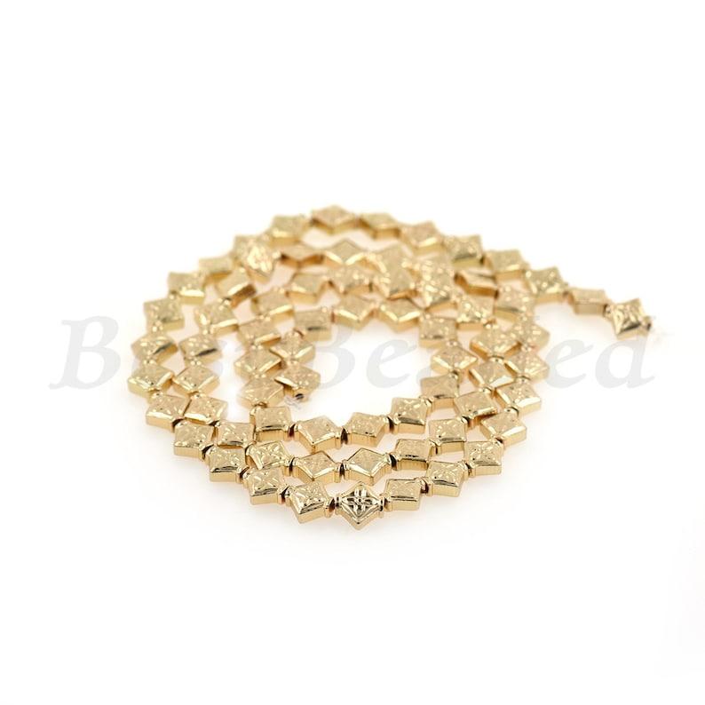 Rhombus Hematite Beads,Carved Leaf Beads,Gold,Silver Beads,Healing Beads,Natural Hematite Beads 5.9x5.8mm
