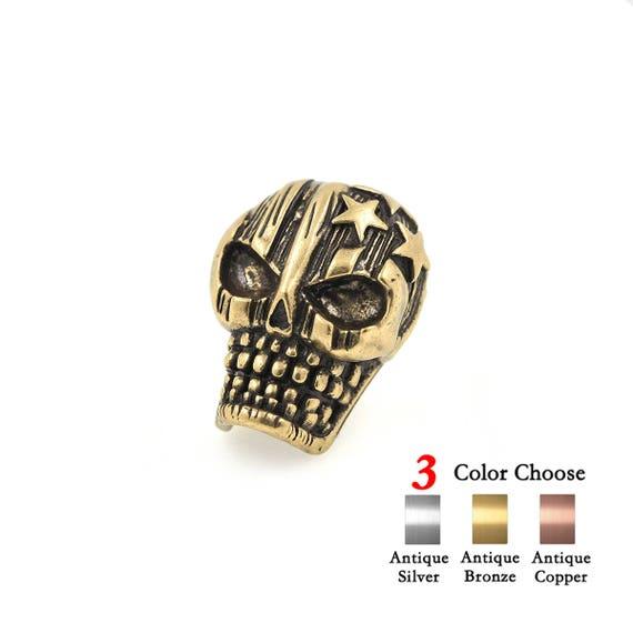 2Pcs Charms Skull Bead Pentagram Pattern for Men's Paracord Survival  Bracelet Making 16x20mm