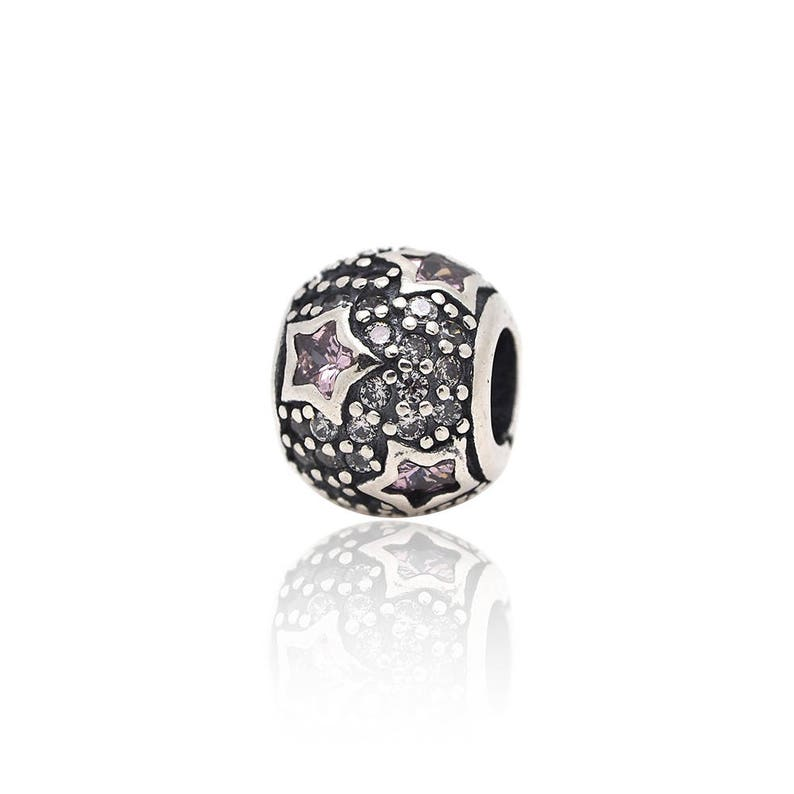 Sterling Silver Pink Stars Charm,DIY S925 Jewelry Bracelet Bead for Women Charms Supplies 8x10mm