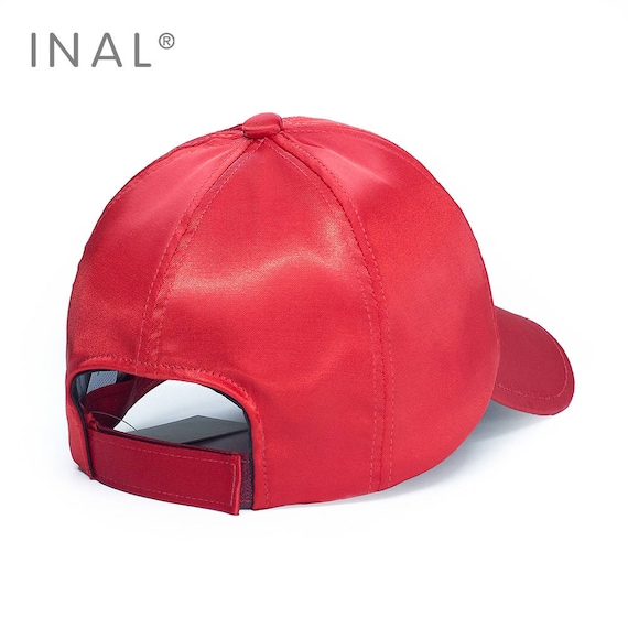 ccbd5ff9e0a Red Silk Baseball Cap Shiny Satin Cap Atlas Hat