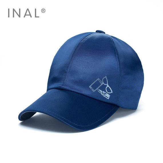 09e6c3dd865 Blue Silk Baseball Cap Shiny Satin Cap Atlas Hat