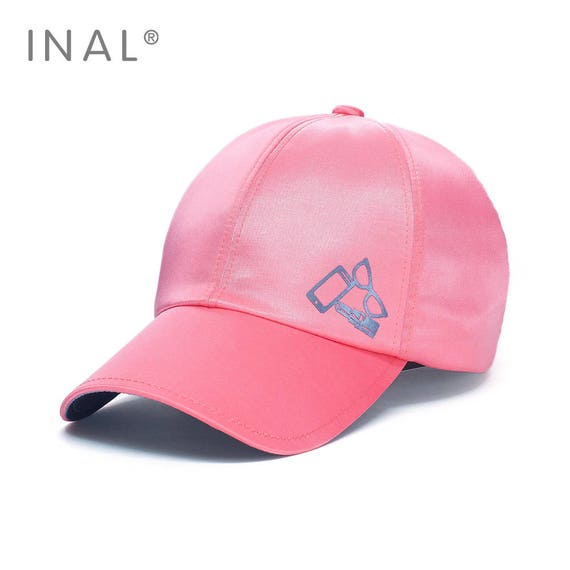 1bf567cb544 Pink Silk Baseball Cap Shiny Satin Golden Cap Atlas Hat