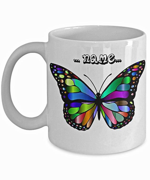 Personalised heart butterfly mug//coaster friendship name birthday christmas gift