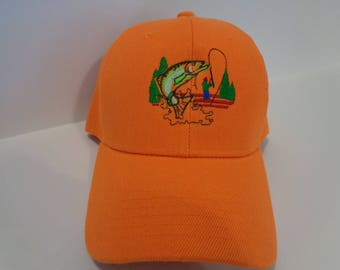 Embroidered ball cap with fishing design
