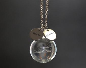 5ec96e13b Dandelion Necklace, Real Flower Necklace, Personalized Necklace, Terrarium  Jewelry, Dandelion Seed Necklace, Wish Necklace, Dandelion Wish
