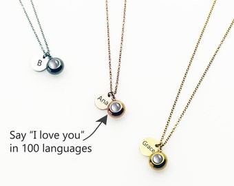18542f75c Personalize Necklace, Love Necklace, 100 Languages I love you Necklace,  Remembrance Necklace, Projection Necklace, Infinity Necklace, Custom