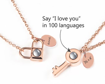 63e7c9c71 Personalized Necklace, Love Necklace, 100 Languages I love you Necklace,  Remembrance Necklace, Projection Necklace, Infinity Necklace