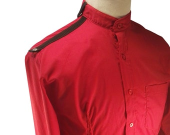 Men's red military style shirt