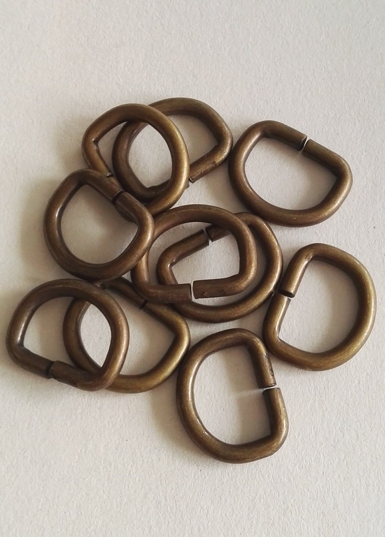 For leathercraft or DIY sewer Vintage look metal dee ring perfect on a steampunk outfit 10 pack antique brass D ring 20mm brass D rings