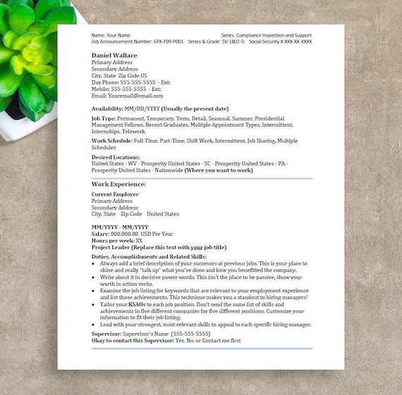 federal resume template ats resume template instant download