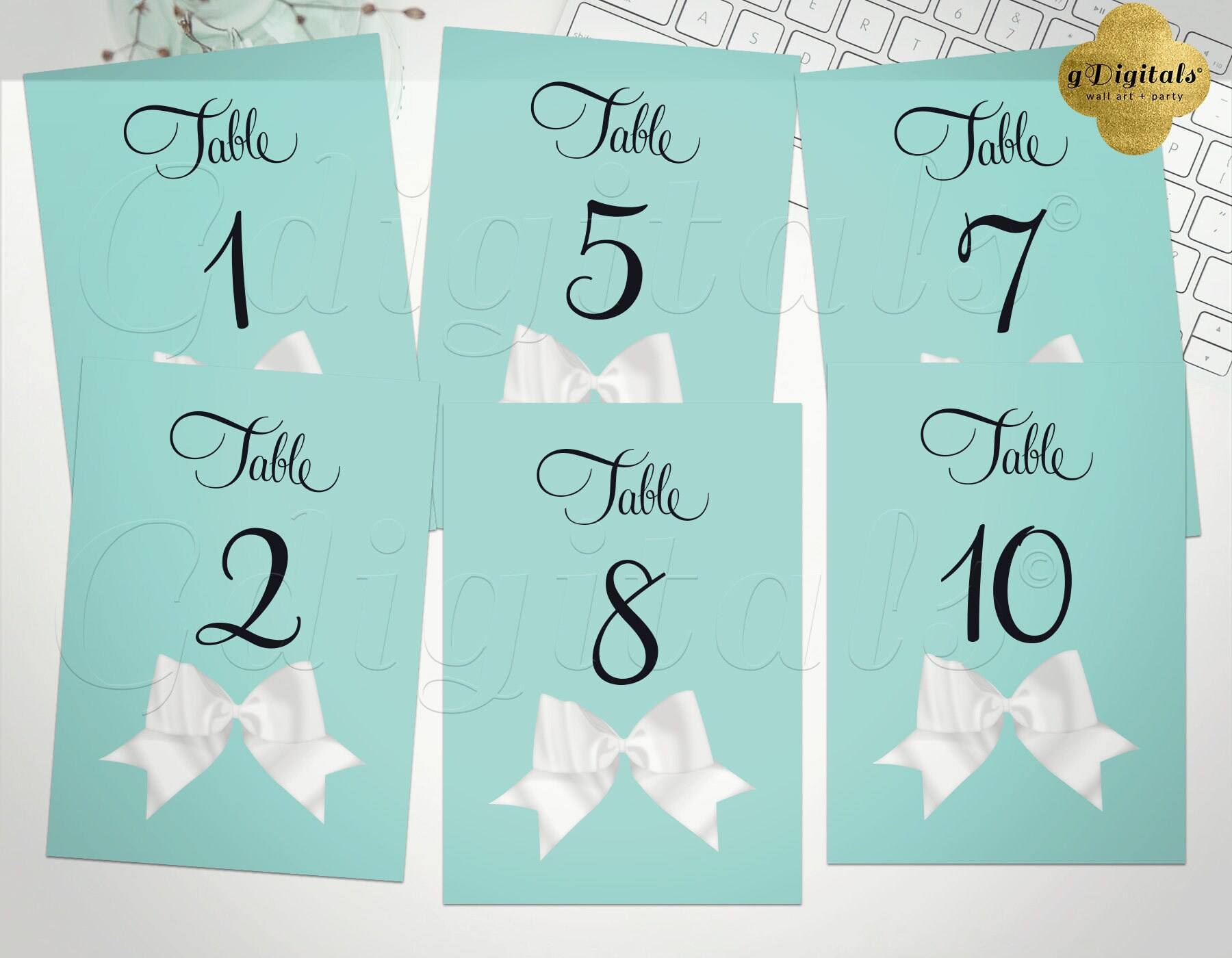 Turquoise Blue Table Numbers 1-10. Breakfast at bridal shower | Etsy