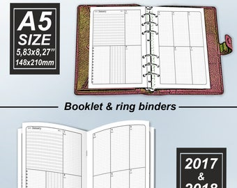 October to December 2017 and January to December 2018 Filofax Inserts Refills Printable Binder Planner Midori Calendar  Monthly Weekly.