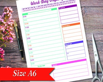 """Personal Organizer, Work Day Organizer, Daily Planner, A6 Daily Planner, A5 Daily Planner, 4.1"""" x 5.8"""" Work Day Organize r,Planner pages"""