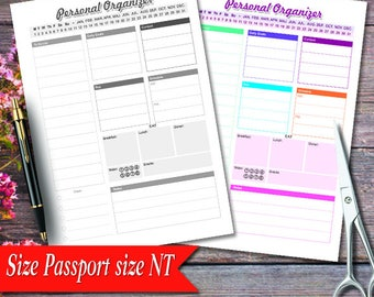 """Daily Planner, Personal Organizer, Work Day Organizer, Daily Planner, Daily Planner, 3.5"""" x 4.88"""" Work Day Organize r,Planner pages"""