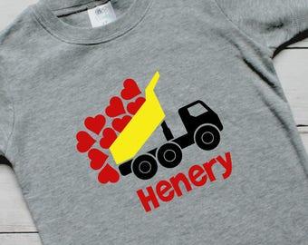 Dump Truck Valentine Shirt Personalized Boys Valentine Shirt