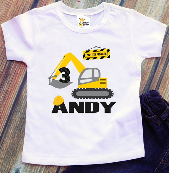 DIGGER BIRTHDAY SHIRT PERSONALIZED NAME CONSTRUCTION DUMPTRUCK BIRTHDAY SHIRT
