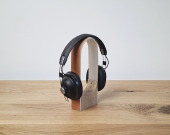 Oak Headphone Stand // Silver Aluminium with Solid Oak Base and Tan Leather, Desk Accessories, Audio, Desk Organisation, Corporate Gift