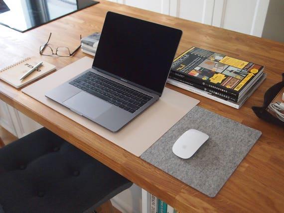 Matte Beige Desk Mat Light Grey Wool Felt Mouse Pad Etsy