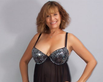 c64d0fb35c66a Women s Sexy Sheer Black Babydoll by Passion Forever Size XL