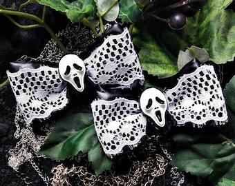 "Hair clips with ""Scream"" movie theme, Hair accessory, Gothic look, Gothic style"