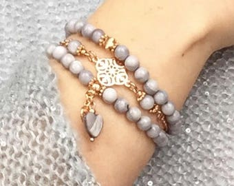 Bracelet set with mussel beads Grey