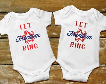 4th of July Bodysuit, Let Freedom Ring, Stars and Stripes, Independence Day Bodysuit, America, Red White and Blue bodysuit