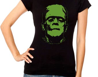 Frankenstein women t shirt different sizes terror film