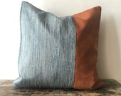 Faux Leather and Raw Silk Pillow cover 16x20 14x20 20x24 20x54 Faux Leather Cushion cover Faux leather pillow cover faux leather body pillow