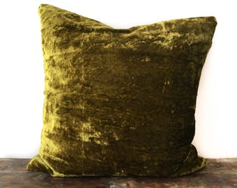 Olive Green Velvet Pillow Case Chartreuse Green Velvet
