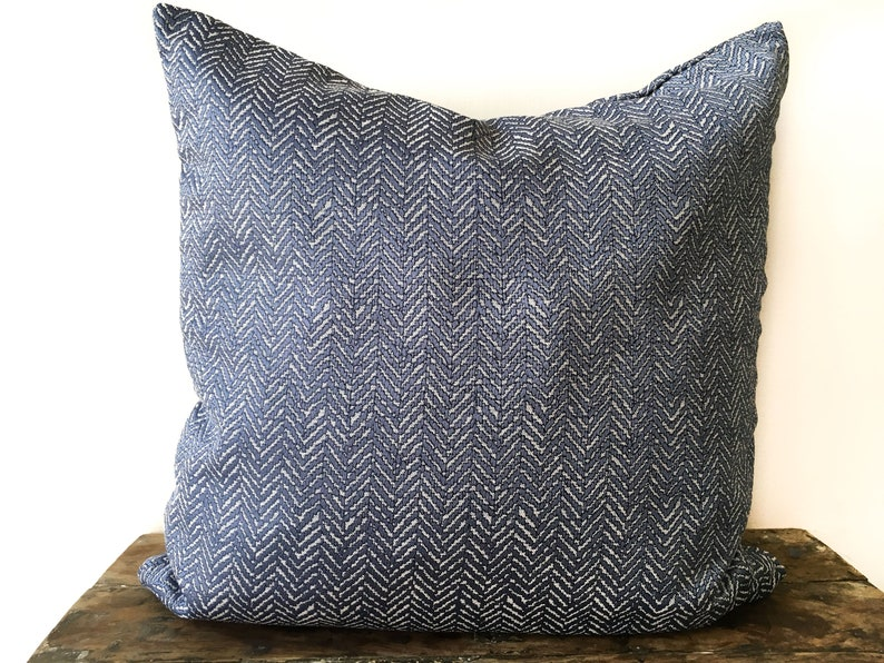 Woven Blue Pillow Cover 26x26 Euro Sham 22x22 Embroidered