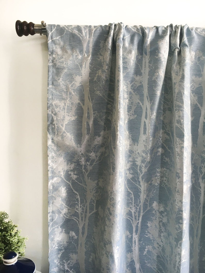 Blue Curtains Silk Curtain Panels Blackout Curtains Window Curtains Door Curtains Boho Kitchen Curtains 120 Inch