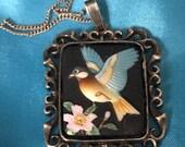 Vintage Japanese Toshikane porcelain and silver necklace