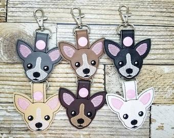 Chihuahua Keychain, Chihuahua Key Fob, Chihuahua Snap Tab, Chihuahua Zipper Pull, Chihuahua Charm, Dog, Chihuahua, Chi Chi