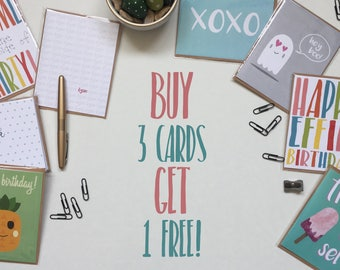 Buy 3 Get 1 Free Greeting Cards, mix and match gifts cards deal, discount stationery