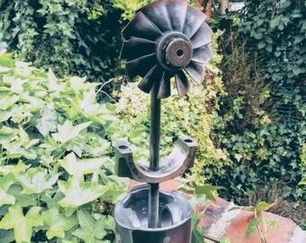 Industrial ornamental reclaimed metal flower