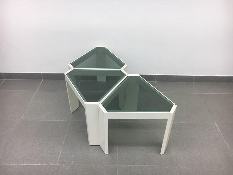 3 Vintage Bijzettafeltjes.Set Of 3 Vintage Stackable Tables Display Cabinet 1970 S Etsy