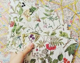 Handmade set of 10 diy floral envelopes