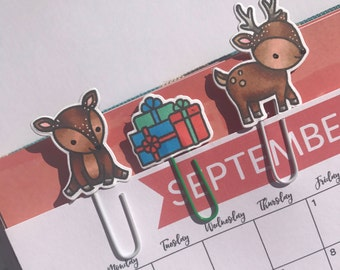Christmas Planner Clips / Planner / Paperclips / Reindeer / Presents / Gift idea / Bookmarks / Stocking filler /  Stationary / Christmas