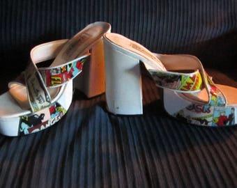 Funky vintage platform newspaper shoes