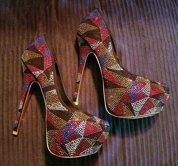 Spectacular vintage Shi rhinestone platform shoes,